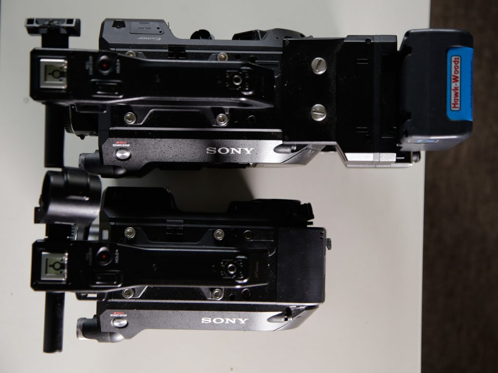 Sony FS7 with and without the extension unit and V-mount battery