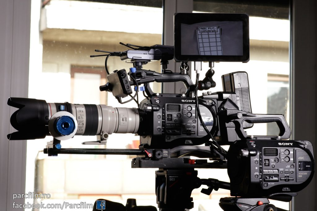 "Sony FS7 almost fully equipped with SmallHD 7"" monitor, extension unit, v-mount battery, two microphone wireless receivers, base plate, 15mm rods and follow focus"